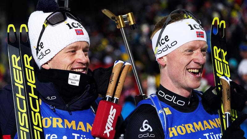Норвежские братья Бё выиграли гонку преследования по биатлону